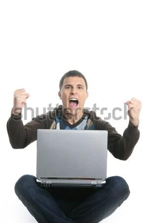 öğrenci mutlu dizüstü bilgisayar başarı jest yalıtılmış Stok fotoğraf © lunamarina