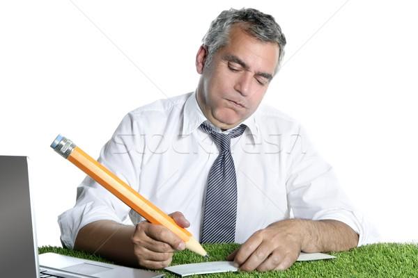 Biznesmen podpisania banku sprawdzić humor gest Zdjęcia stock © lunamarina