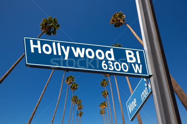 Hollywood Boulevard with  sign illustration on palm trees Stock photo © lunamarina