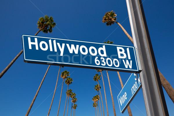 Hollywood segno illustrazione palme vite cielo Foto d'archivio © lunamarina
