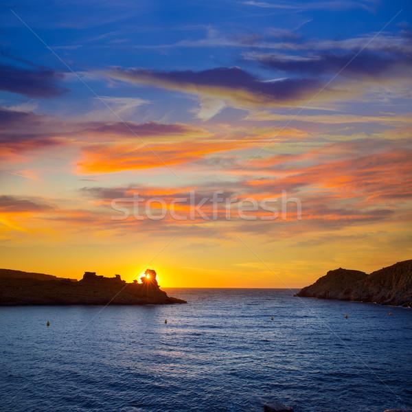 Menorca sunset in Cala Morell at Ses torretes beach Stock photo © lunamarina