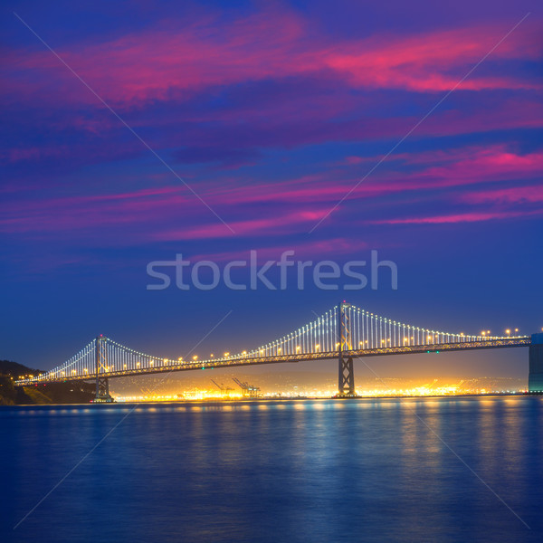 San Francisco Bay Bridge at sunset from Pier 7 California Stock photo © lunamarina