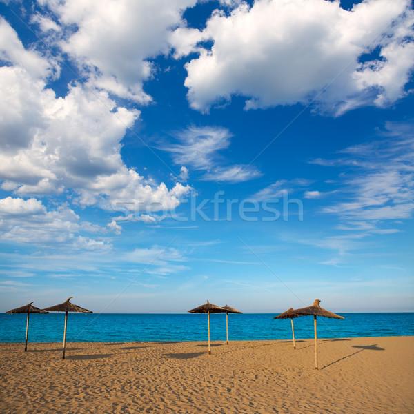 Middellandse zee strand Valencia water wolken achtergrond Stockfoto © lunamarina
