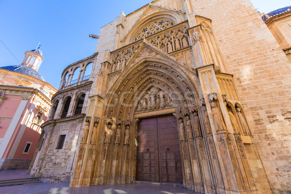 Valencia katedrális ajtó hagyományos bíróság épület Stock fotó © lunamarina
