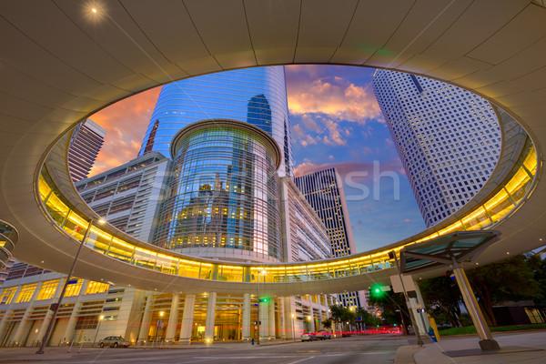 Houston centro de la ciudad puesta de sol rascacielos Texas moderna Foto stock © lunamarina
