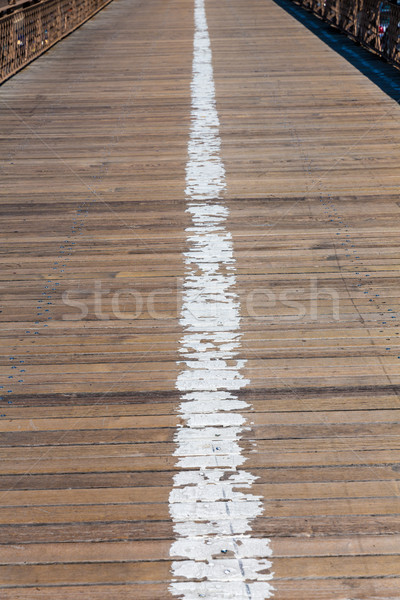 Brooklyn bridge wooden soil pavement detail NY Stock photo © lunamarina