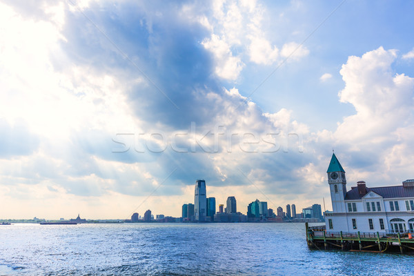 Pier A in Battery Park Manhattan skyline New York and Jersey with dramatic sky Stock photo © lunamarina