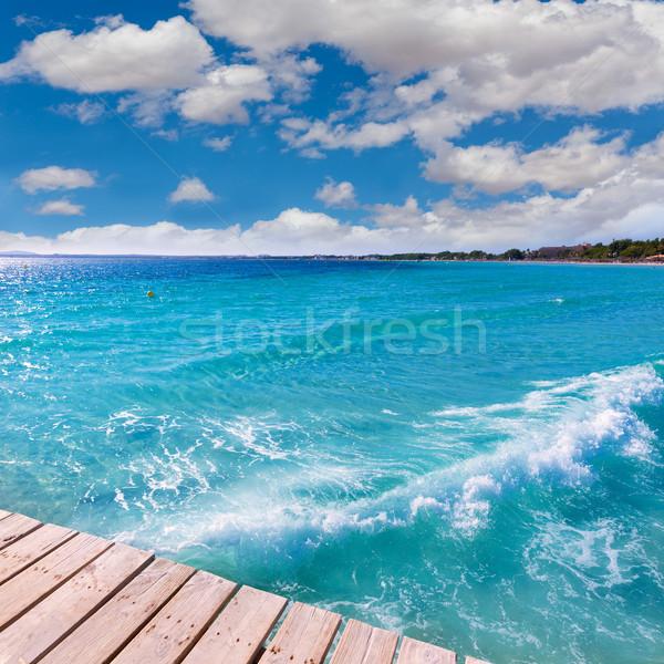 Strand pier majorca eilanden Spanje wolken Stockfoto © lunamarina