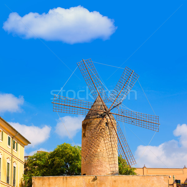Palma de Majorca windmills wind mill in Mallorca Stock photo © lunamarina