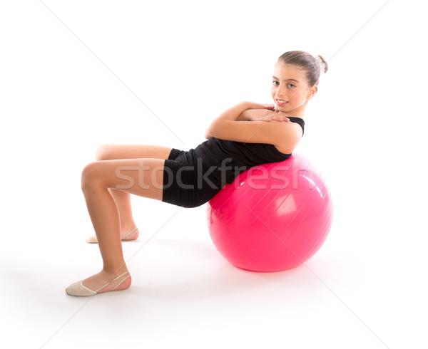 Fitness bola criança menina exercer exercício Foto stock © lunamarina