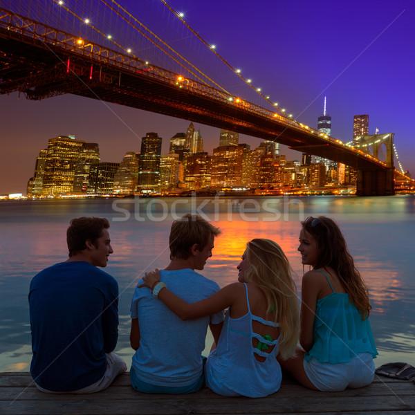 友達 グループ 背面図 日没 楽しい ニューヨーク ストックフォト © lunamarina
