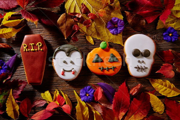 Halloween sweet biscuits pumpkin skull tomb vamp Stock photo © lunamarina