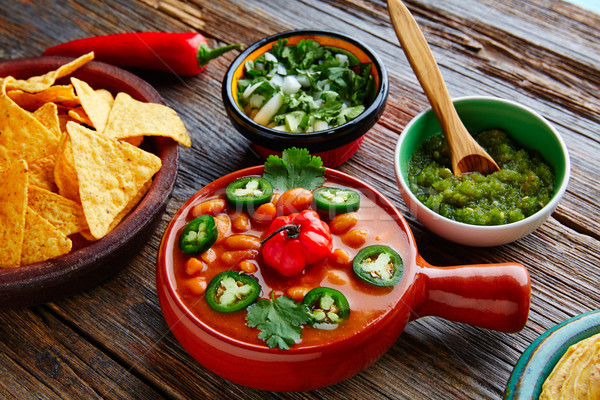 Frijoles charros mexican beans with chili peppers Stock photo © lunamarina
