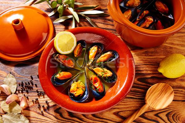 Tapas mejillones al vapor steamed mussels Spain Stock photo © lunamarina