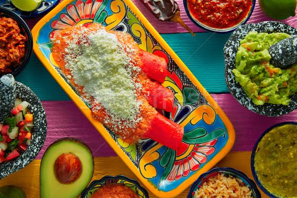 Piros mexikói étel színes asztal étterem tányér Stock fotó © lunamarina