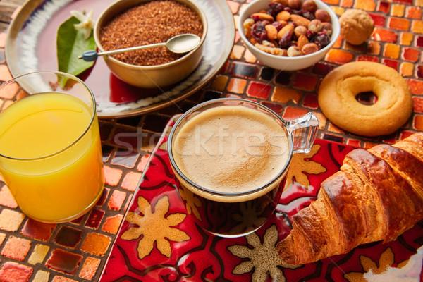 Континентальный завтрак круассан кофе апельсиновый сок завтрак континентальный Сток-фото © lunamarina