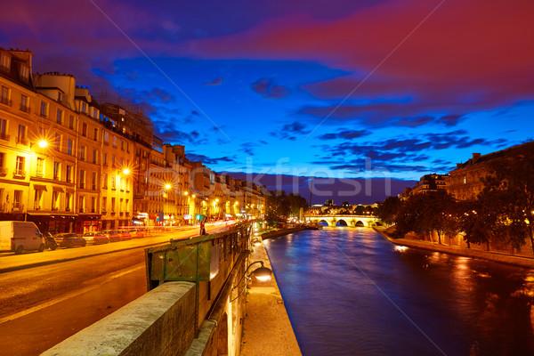 Paris nehir gün batımı Fransa aziz gökyüzü Stok fotoğraf © lunamarina