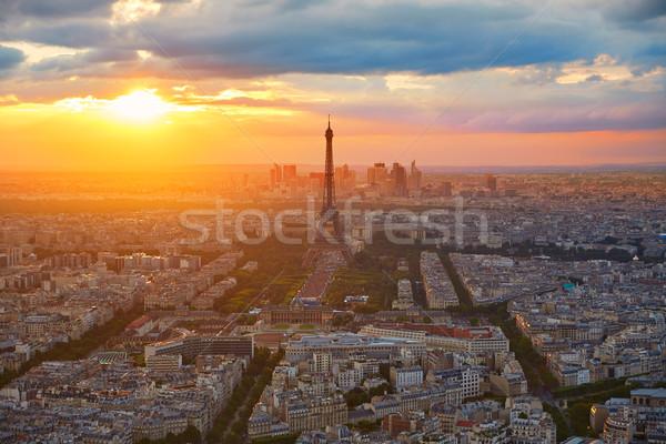 Torre Eiffel Parigi tramonto Francia cielo Foto d'archivio © lunamarina