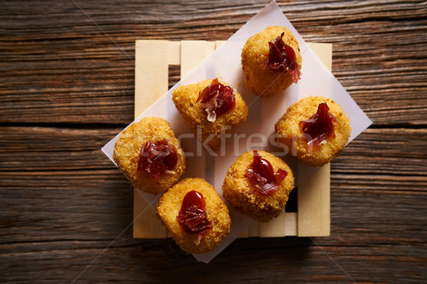Tapas Croquettes rissole with iberian ham  Stock photo © lunamarina