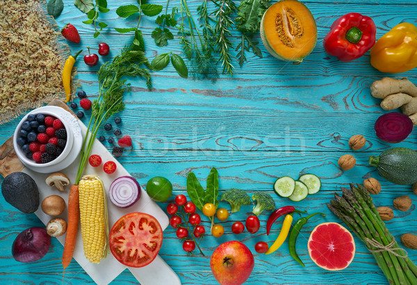 Healthy food vegetables for heart heath on wood Stock photo © lunamarina