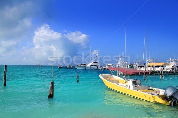 Isla Mujeres Mexico boats turquoise Caribbean sea Stock photo © lunamarina