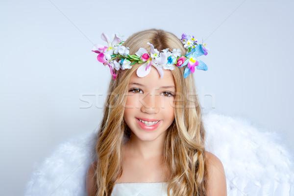 Stok fotoğraf: Melek · çocuklar · küçük · kız · portre · moda · beyaz