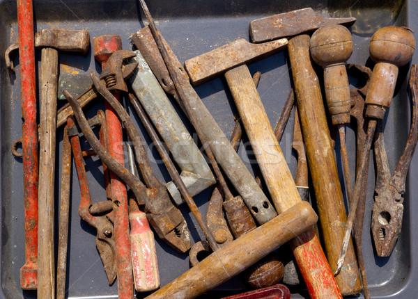 aged weathered rusty hand tools in black Stock photo © lunamarina