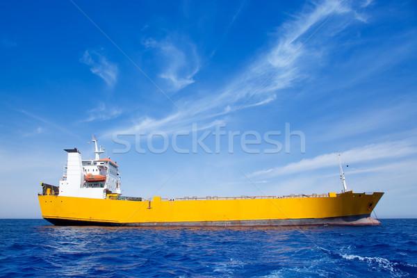 Anchor cargo yellow boat in blue sea Stock photo © lunamarina
