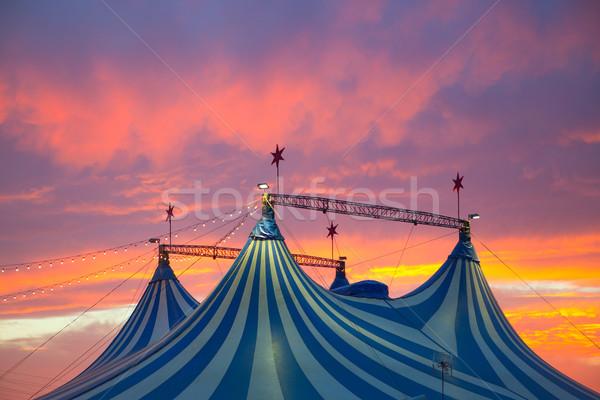 Stockfoto: Circus · tent · dramatisch · zonsondergang · hemel · kleurrijk