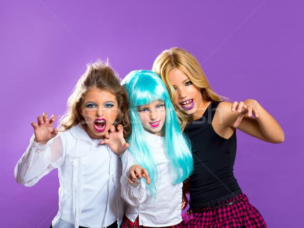 детей группа девочек Purple друзей жест Сток-фото © lunamarina