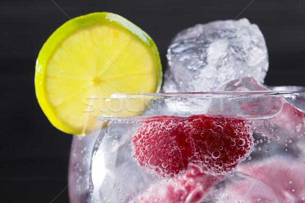 Gin koktél málna jég makró közelkép Stock fotó © lunamarina