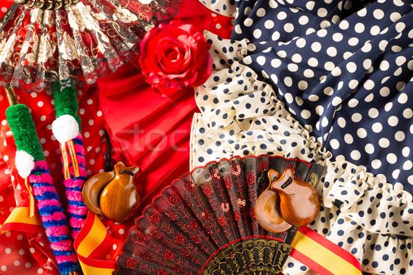 Tipikus Spanyolország rózsa flamenco ventillátor fésű Stock fotó © lunamarina