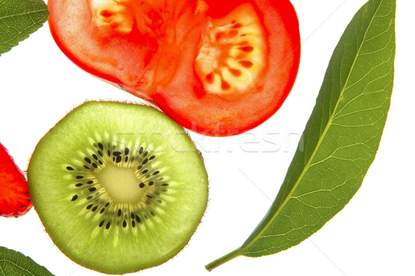 Bay tree leaf, kiwi and tomato Stock photo © lunamarina