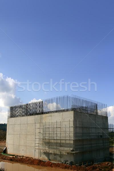 Concrete column reinforced, steel for a road construction Stock photo © lunamarina