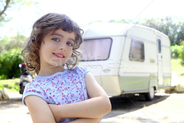 little children girl posing caravan camping vacation Stock photo © lunamarina
