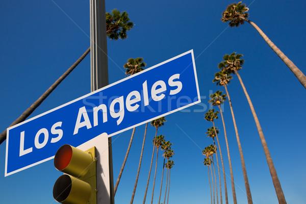 LA Los Angeles palm trees in a row road sign photo mount Stock photo © lunamarina