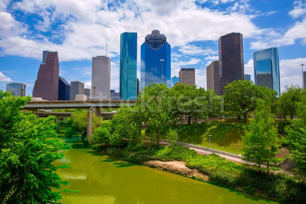 Houston Texas linha do horizonte moderno blue sky ver Foto stock © lunamarina