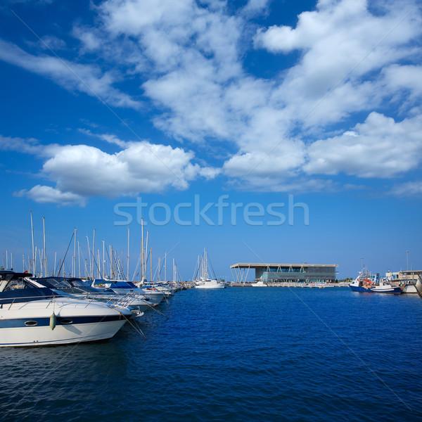 Marina hajók Valencia Spanyolország tengerpart tájkép Stock fotó © lunamarina