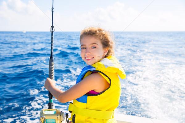 Nino nina barco pesca arrastre barra Foto stock © lunamarina