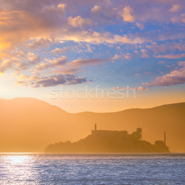 Alcatraz island penitentiary at sunset backlight in san Francisc Stock photo © lunamarina
