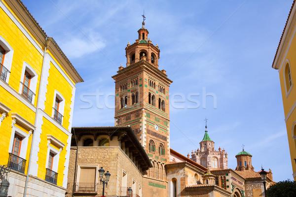 Aragon Teruel Cathedral and Ayuntamiento Town Hall Spain Stock photo © lunamarina