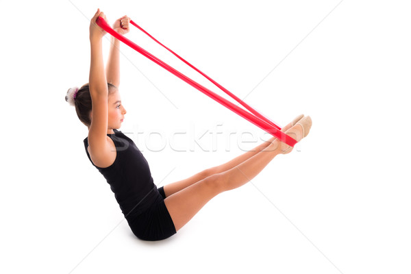 Fitness rubber resistance band kid girl exercise Stock photo © lunamarina