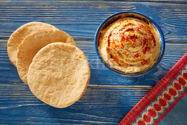 Foto stock: Pita · pão · vermelho · pimenta · pó · azul