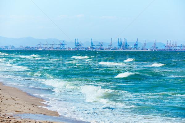 Валенсия пляж порта мнение Испания закат Сток-фото © lunamarina