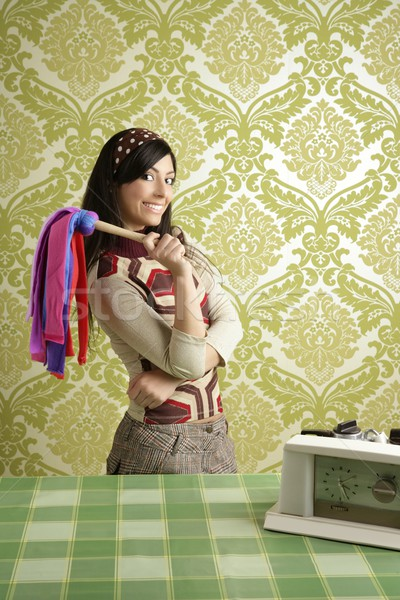 retro housewife cleaning duster woman sixties Stock photo © lunamarina