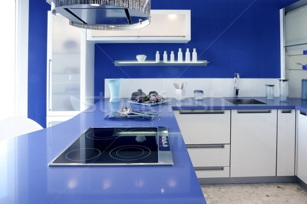 Blue white kitchen modern interior design house Stock photo © lunamarina