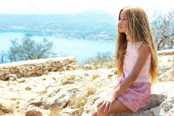 ブロンド 少女 見える 青 地中海 海 ストックフォト © lunamarina
