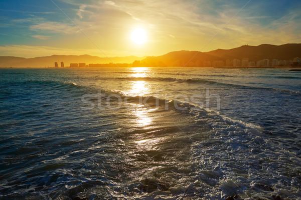 Cullera Playa los Olivos beach sunset in Valencia Stock photo © lunamarina