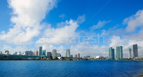 Miami belváros napos sziluett Florida USA Stock fotó © lunamarina
