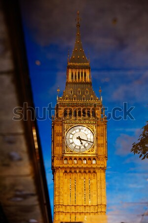 Big Ben óra torony pocsolya tükröződés London Stock fotó © lunamarina